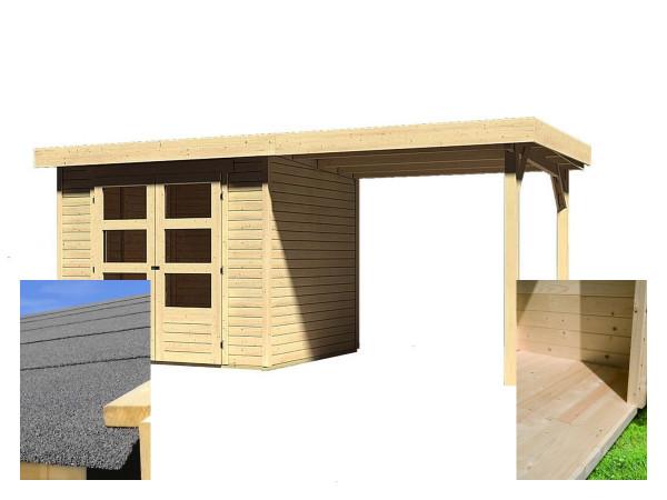 Dřevěný domek KARIBU ASKOLA 3 + přístavek 240 cm (14441) SET