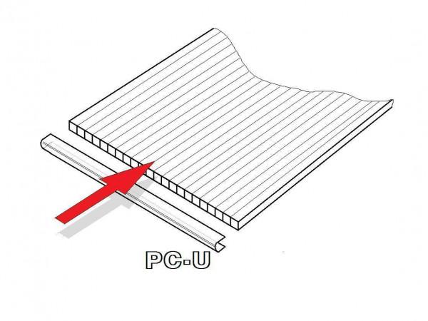 LanitPlast PC U-profil 4 mm pro obloukový skleník délka 2,10 m (1 ks)