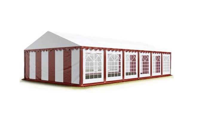 Párty stan 4x10 m - PVC Premium - Červeno-bílá