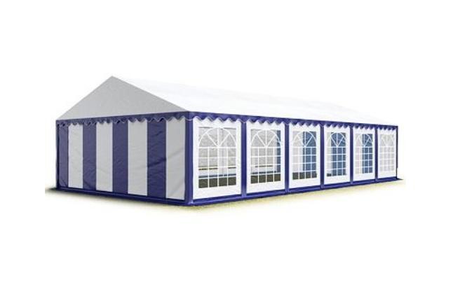 Párty stan 4x10 m - PVC Premium - Modro-bílá