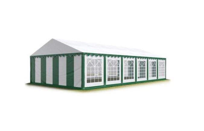 Párty stan 4x10 m - PVC Premium - Zeleno-bílá